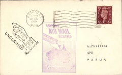 (GB External) Imperial Airways, F/F Third Stage EAMS, London to Papua, bs 10/8, plain cover franked 1 1/2d, large black framed 'Empire Air Mail Scheme' cachet.
