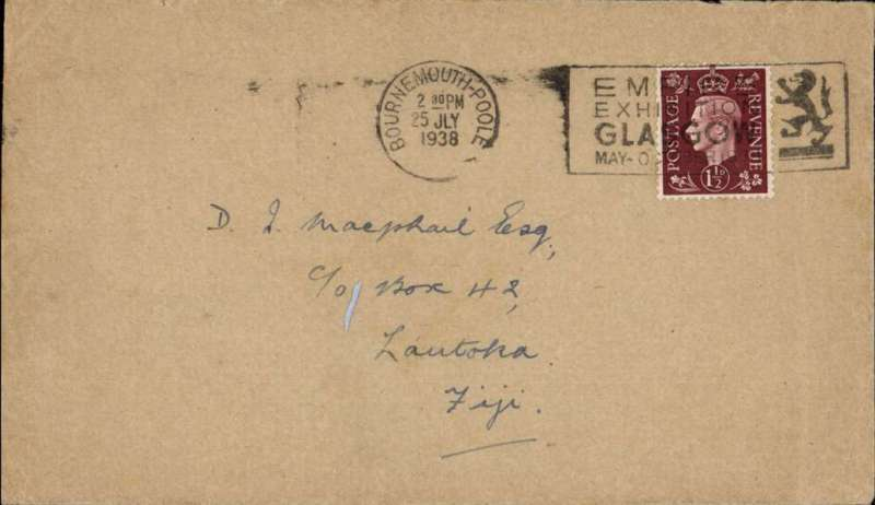 (GB External) Imperial Airways, F/F Third Stage EAMS, London to Fiji, no arrival ds, plain cover franked 1 1/2d, canc Bournemouth cds, no cachet..