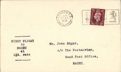 (GB External) Imperial Airways, F/F Third Stage EAMS, London to Nauru, bs 25/8, plain cover franked 1 1/2d, typed 'First Flight to Nauru at 1 1/2d rate'.