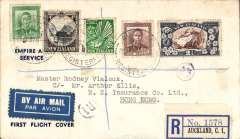 (New Zealand) Cover flown al the way by air from Auckland to Hong Kong, bs 12/8, reg (label) printed 'Empire Air Mail Service/First Flight Cover', franked 9d, canc Auckland Registered cds, blue/white airmail etiquette. Although the EAMS to Australia and New Zealand service officially started on 26 July 1938 the NZ F/F EAMS mail was held back until Aug 4 to ensure that it did not overtake the last sea-mail dispatch at the pre-EAMS rate which left Auckland on 25 July. The sender of this particular cover paid the now 'defunct' 5d air mail surcharge to avoid this delay, and to ensure carriage by air all the way to Hong Kong. A nice one for the exhibit.