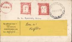 (South Africa) Mail flown on the third and final stage of the Empire Airmail Scheme, Johannesburg to New Zealand, Christchurch 29/12 arrival ds on front, plain cover postmarked fine metre strikes '1d', '1/2d' and 'Johannesburg/6.XII.38' cds, also readdressed label dated 29/12. Connected at Alexandria with Imperial Airways SE61 Southampton-Sydney service and flown to Bahrain by Centaurus, then OAT by Coolangatta, see Wingent p77. Uncommon item.