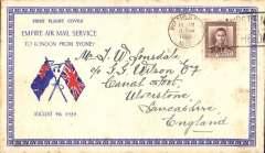 (New Zealand) First mail from New Zealand to England dispatched under Stage 3 of the Empire Air Mail Scheme and first thrice weekly service from Australia, Wanganui to England, no arrival ds, printed souvenir 'Empire Air Mail Service' corner cover  franked 1 1/2d canc Wanganui /4 Aug/1938 cds. Departed from NZ by sea on 4 Aug aboard the SS Waganella to Sydney from where it departed on 9 Aug in flying boat Coriolanus to Southampton. Although 26 July was the official start of Stage 3 EAMS, acceptances from New Zealand were held back for the flight that left on 9 August to ensure that the first EAMS mail did not overtake the last sea-mail service.