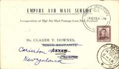 (New Zealand) First mail from New Zealand to Burma dispatched under Stage 3 of the Empire Air Mail Scheme and first thrice weekly service from Australia, Wellington to Akyab, 14/8 arrival ds on front, via Rangoon 13/8, printed souvenir 'Empire Air Mail Scheme' card  franked 1 1/2d canc Wellington /4 Aug/1938 cds. Departed from NZ by sea on 4 Aug aboard the SS Waganella to Sydney from where it departed on 9 Aug in flying boat Coriolanus. Although 26 July was the official start of Stage 3 EAMS, acceptances from New Zealand were held back for the flight that left on 9 August to ensure that the first EAMS mail did not overtake the last sea-mail service.