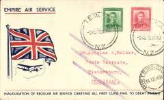 (New Zealand) First mail from New Zealand to the Transvaal dispatched under Stage 3 of the Empire Air Mail Scheme and first thrice weekly service from Australia, Temuka to Pietersburg, bs 23/8, red/white/blue 'Flag' souvenir cover  franked 1 1/2d canc Temuka 2 Au 38 cds, fine strike three bar Jusqu'a. Departed from NZ by sea on 4 Aug aboard the SS Waganella to Sydney from where it departed on 9 Aug in flying boat Coriolanus connecting at Alexandria with the England -South Africa service. Although 26 July was the official start of Stage 3 EAMS, acceptances from New Zealand were held back for the flight that left on 9 August to ensure that the first EAMS mail did not overtake the last sea-mail service.