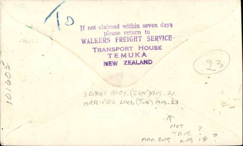 (New Zealand) First mail from New Zealand to Tanganyika dispatched under Stage 3 of the Empire Air Mail Scheme and first thrice weekly service from Australia, Temuka to Lindi, red/white/blue 'Flag' souvenir cover  franked 1 1/2d canc Temuka 2 Au 38 cds. Departed from NZ by sea on 4 Aug aboard the SS Waganella to Sydney from where it departed on 9 Aug in flying boat Coriolanus connecting at Alexandria with the England -South Africa service and at Mombassa with Wilson Airways to destination. Although 26 July was the official start of Stage 3 EAMS, acceptances from New Zealand were held back for the flight that left on 9 August to ensure that the first EAMS mail did not overtake the last sea-mail service.