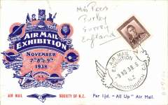 """(New Zealand) Air Mail Expo Christchurch, November 7,8,9, red/white/blue 'Per 1 1/2d """"All Up"""" Air Mail day 3 souvenir card franked 1 1/2d and showing verso a B&W photo of the mail box and special bag in which official letters were carried on the first """"All Up"""" from New Zealand. Only 50 cards were mailed on November 9."""