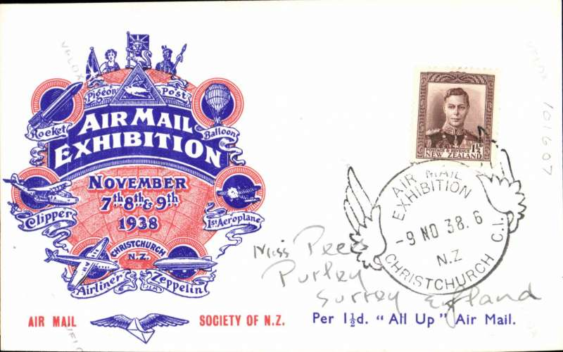 "(New Zealand) Air Mail Expo Christchurch, November 7,8,9, red/white/blue 'Per 1 1/2d ""All Up"" Air Mail day 3 souvenir card franked 1 1/2d and showing verso a B&W photo of the mail box and special bag in which official letters were carried on the first ""All Up"" from New Zealand. Only 50 cards were mailed on November 9."