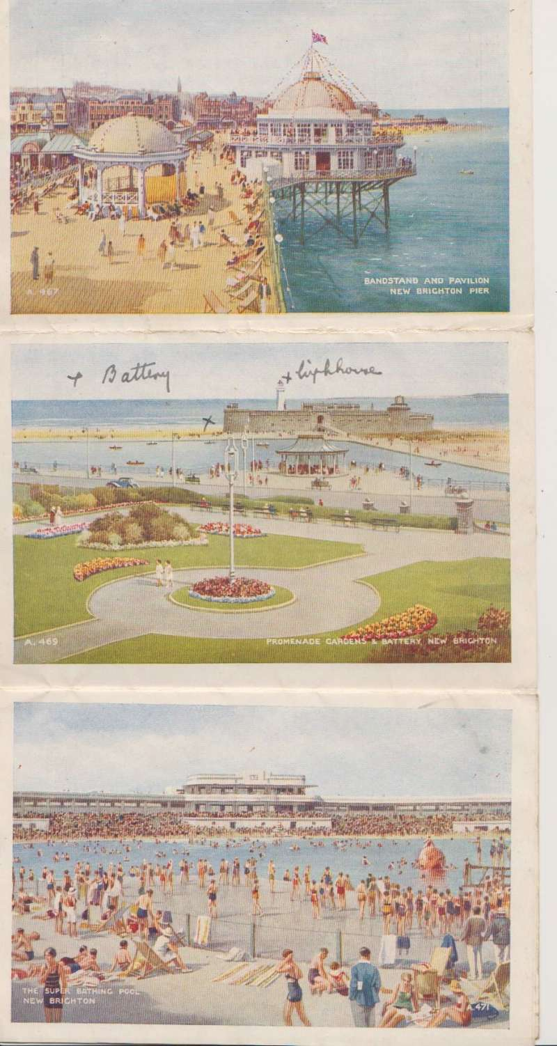 (GB External) Five view colour letter card showing views of New Brighton franked 1 1/2d, canc Wallasey cds, red 'Postage due paid 3d' and 3d NZ postage due stamp with black framed PO reminder verso. The letter was double weight but only pre-paid for 1/2oz, and charged 3d Postage Due in Auckland. Slight non invasive top edge damage.