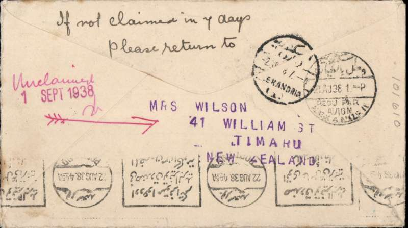 (Flying Boats) First mail from New Zealand to Egypt dispatched under Stage 3 of the Empire Air Mail Scheme and first thrice weekly service from Australia, Temuka to Port Said, bs 22/8, via Alexandria 21/8, black/red/cream 'Kiwi' souvenir cover  franked 1 1/2d canc Temuka 26 Jul 38 cds. Departed from NZ by sea on 4 Aug aboard the SS Waganella to Sydney from where it departed on 9 Aug the in flying boat Coriolanus to Alexandria. Although 26 July was the official start of Stage 3 EAMS, acceptances from New Zealand were held back for the flight that left on 9 August to ensure that the first EAMS mail did not overtake the last sea-mail service.