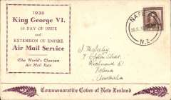 (New Zealand) Extension of Air Mail Service to New Zealand, uncommon brown/cream souvenir cover variety, sent on first day of service from NZ to Australia, franked 1 1/2d canc Napier 26.Jl.38. The NZ-Australia leg was by sea.
