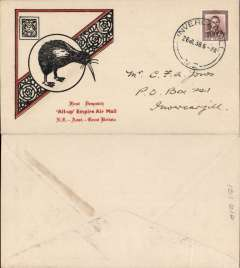 """(Australia) NZ acceptance for inauguration EAMS Australia-England, no arrival ds, illustrated black/red """"Kiwi/All Up""""souvenir cover, franked 1 1/2d canc Wellington cds, Imperial AW, flown in """"Carpentaria"""" by Capt. Orme Denny."""