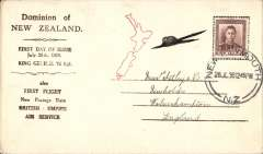 "(New Zealand) NZ acceptance for inauguration EAMS Australia-England, no arrival ds, uncommon printed brown/cream ""Dominion of New Zealand"" souvenir corner cover, franked 1 1/2d canc New Plymouth cds, Imperial AW, flown in ""Carpentaria"" by Capt. Denny Orme."