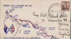 """(New Zealand) NZ acceptance for inauguration EAMS Australia-England, no arrival ds, uncommon red/white/blue souvenir 'First Day Cover'Zealand"""" cover showing Union Jack and map of route franked 1 1/2d canc      New Plymouth cds, Imperial AW, flown in """"Carpentaria"""" by Capt. Denny Orme."""