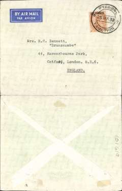 (Burma) Empire Airmail Scheme: Stage 3, Yamethin to England, no arrival ds, non philatelic cover dispatched at the reduced EAMS  rate of 2 anna 6 pies, imprint airmail etiquette cover franked India 2 annas 6 pies opt 'Burma', flown on Imperial Airways flying boat service SW 21 from Sydney to Southampton by 'Cooee' (see Aircraft Movements on Imperial Airways' Eastern Route, Vol 2 Wingent P). Empire C Class Flying Boats were developed specifically for the Empire Airmail Scheme for service from England to Australia and Africa. Uncommon origin.