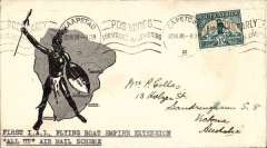 "(South Africa) First acceptance of mail via Stage 3 of the Empire Airmail Scheme, Cape Town to Australia, no arrival ds, attractive B&W souvenir cover showing native with shield over background map of South Africa, franked 1 1/2d, canc Cape Town cds, typed ""First  IAL Flying Boat Empire Extension/'All Up' air mail scheme"". Flown on service DN 112 by 'Corsair' to Alexandria, then on England-Australia SE 1 service by 'Capella' and 'Calypso' (see Aircraft Movements on Imperial Airways' Eastern Route, Vol 2 Wingent P). C Class Flying Boats were developed specifically for the Empire Air Mail Scheme for service from England to Australia and Africa."