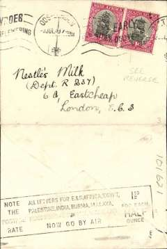 "(South Africa) Empire Airmail Scheme: Stage 3, East London to London, no arrival ds, dispatched at the reduced EAMS  rate of 1 1/2d, small cover franked 2d"", on the back is a nice strike of the boxed Empire Airmail Scheme/New Slogan Postmark ""Note The Postage Rate/All Air Letters For .............1 1/2d for Each Half Ounce"" . Flown on service DN 202 from Durban to Southampton by 'Cassiopia't (see Aircraft Movements on Imperial Airways' Eastern Route, Vol 2 Wingent P). Empire C Class Flying Boats were developed specifically for the Empire Air Mail Scheme for service from England to Australia and Africa."