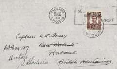 (Southern Rhodesia) First acceptance of mail via Stage 3 of the Empire Airmail Scheme, Salisbury to New Guinea, bs Rabaul, NG, 11/8, via Townsville (Australia) 9/8, plain cover franked 1 1/2d, canc Salisbury cds. Flown by Rhodesia and Nyasaland Airways to Beira, then to Alexandria on the Imperial Airways Durban-Southampton flying boat service, then to Townsville on the IAW England-Australia service, and finally to Rabaul by WR Carpenter Airlines  (see Aircraft Movements on Imperial Airways' Eastern Route, Vol 2 ,Wingent P, and Airmails of New Zealand, Vol 2, Walker DA). A superb example of the pleasure and fascination of aerophilately.