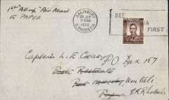 (Southern Rhodesia) First acceptance of mail via Stage 3 of the Empire Airmail Scheme, Salisbury to Papua, bs Port Moresby, Papua, 10/8, via Townsville (Australia) 9/8, plain cover franked 1 1/2d, canc Salisbury cds. Flown by Rhodesia and Nyasaland Airways to Beira, then to Alexandria on the Imperial Airways Durban-Southampton flying boat service, then to Townsville on the IAW England-Australia service, and finally to Rabaul by WR Carpenter Airlines  (see Aircraft Movements on Imperial Airways' Eastern Route, Vol 2 ,Wingent P, and Airmails of New Zealand, Vol 2, Walker DA). A superb example of the pleasure and fascination of aerophilately.