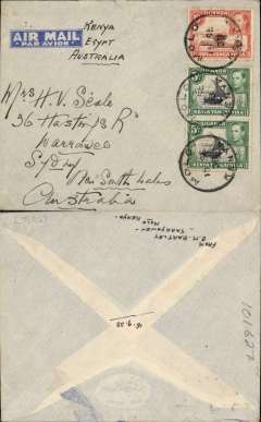 "(Kenya) Empire Airmail Scheme: Stage 3, Molo to Sydney via Cairo, no arrival ds, non philatelic cover dispatched at the reduced EAMS  rate of 20c, imprint airmail etiquette cover franked 20c, ms ""Kenya-Egypt-Australia"" flown on service DN 127 to Alexandria by 'Corinthian', then on England-Australia service SW30 to Sydney by 'Challenger' (see Aircraft Movements on Imperial Airways' Eastern Route, Vol 2 Wingent P). Empire C Class Flying Boats were developed specifically for the Empire Air Mail Scheme for service from England to Australia and Africa. Uncommon origin."