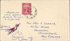 """(Sarawak) Empire Airmail Scheme: Stage 3, first dispatch at EAMS reduced rate of 6c, Sarawak to New Zealand, no arrival ds, plain cover franked 6c, canc Kutching 26 Jul 1938, ms """"August 1938/First Official Empire Airmail/@ 6c per 1/2oz"""". Carried by boat to Singapore then flown to Sydney on the England-Australia service SE 1 by Empire C Class Flying Boat 'Capella' and from Sydney the New Zealand mail was dispatched to its destination by Trans Tasman steamer. See Aircraft Movements on Imperial Airways' Eastern Route, Vol 2, Wingent P."""