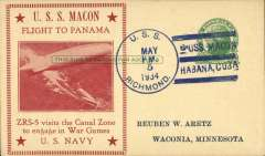 "(Airship) USS Macon (ZR5), red framed ""Flight to Panama/Visits the Canal Zone to engage in War Games"" cachet, USS Richmond machine cancel,R Aretz card,                                                                                                                                                                                                                                                                                                                                                                                                                                                                                                                                                                                                                                                                                                                                                                                                                                                                                                                                                                                                                                                                                                                                                                                                                                                                                                                                                                                                                                                                                                                                                                                                                                                                     Opa Locka cds, M Sussman card, 69 made."