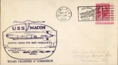 "(Airship) USS Macon, ""Leaves Miami for War Manoeuvres"" Miami C of C cachet, Miami, FL canc."