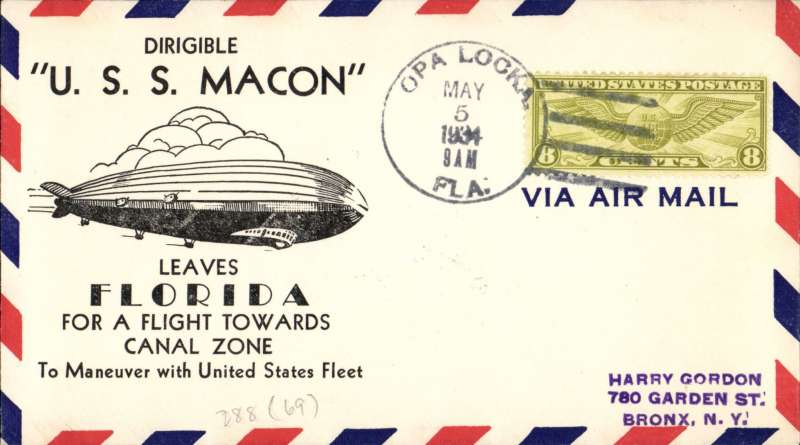 """(Airship) US Macon (ZR5), """" Leaves Florida for a Flight towards the Canal Zone"""" cachet, Oa Locka machine cancel, M Sussman card, 69 made."""