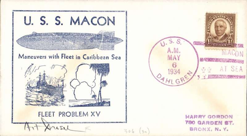 "(Airship) USS Macon (ZR5), blue frame ""US Macon/Manoeuvres in Caribbean Sea/Fleet Problem XV"" cachet, magenta USSS Dahlgreen canc, M Sussman with Hax Cuts, 30 made."