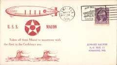 "(Airship) USS Macon (ZR5), red ""Takes Off From Miami to Manoeuvre with the Fleet in the Caribbean Sea"" cachet, canc Miami, FL, E Hacker card, 60 made."