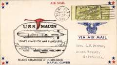 "(Airship) USS Macon (ZR5), red/black ""Leaves Miami for War Manoeuvres"" C of C cachet, canc Miami."
