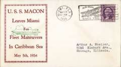 "(Airship) USS Macon (ZR5), green/red framed ""Leaves Miami for Fleet Manoeuvrers in Caribbean Sea"" cachet, canc Miami, FL, L Gilman card, only 20 made."