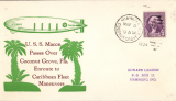 "(Airship) USS Macon (ZR5), green/brown ""Passes Over Coconut Grove,Fla"", canc Miami, FL, Ed Hacker card, 81 made."