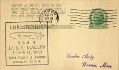 (Airship) USS Macon (ZR5), first inflation, canc Akron, OH, black framed Akron Chamber of Commerce 'Christening' cachet..