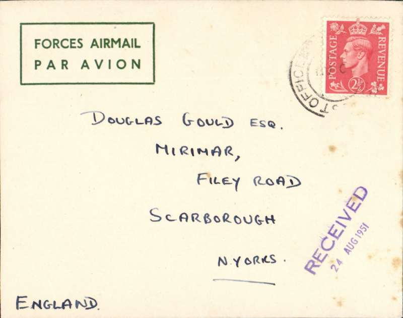(Hong Kong) Neat and fine green/cream printed 'Forces Airmail/Par Avion' envelope with embossed green 'Kings Shropshire Light Infantry' logo on flap, franked 2 1/2d canc (army) PO to England, 24/8/51 arrival ds on front, posted from SS Empire Fowey, Kowloon. She served as a troopship until 1960, and also carried servicemen's families to the naval dockyard on Singapore in the early 1950's.