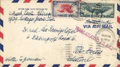 """(United States) USA to Palestine, WWII uncensored airmail, Chicago to Tel Aviv, franked 36c, fine strike red straight line """"Trans-Atlantic Air Mail"""", ms 'Written in German', Correctly franked 36c. Transatlantic mail to the Middle East between July 1939 and May 1940 was 30c to Lisbon and an additional 6c per 1/2oz to Palestine, see Boyle p17 and p83."""