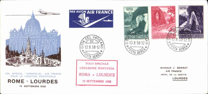 (Vatican City) Papal flight, Caravelle, Vatican to Lourdes, bs, illustrated souvenir company cover 10x22cm, franked Vatican 10,25,100L canc Cit Del Vat/Posta Aerea cds, boxed red cachet, Air France.