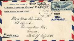 """(United States) Last Imperial Airways West to East service before the outbreak of WWII, New York to the Isle of Wight, England, airmail cover from an engineer on the Queen Mary, Pier 90, correctly rated 30c, postmarked New York/GPO, ms North Atlantic/Via """"Cabot"""". An historic item."""