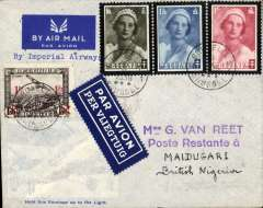 (Belgium) First Belgium acceptance for first Imperial Airways London-Nigeria service Brussels to Maidugari, bs 16/2 a, via Paris 9/2 and Khartoum 14/2, correctly franked 3.85 F, canc Brussels cds, Van Reet pale grey imprint etiquette official envelope with transparent lower left section depicting aircraft, typed 'By Imperial Airways'. See West African Airmails, ed B. Priddy, p17..