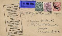"(GB External) Attempted first regular airmail to Uganda, London to Jinja bs 4/4, via Kisumu 31/3, also red circular 'Kenya-Sudan/Mr 31 27/Air Mail' ds verso, and red framed explanatory cachet ""Service officially arranged to operate from London, March 10 1927, but abandoned due to crash of Hydroplane on Lake Victoria"" on front, black/buff Francis Field printed cover franked 6d 4d & 1 1/2d, canc London hooded cds. Scarce, rated 280 points by Newall (p89)."