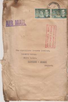 "(Recovered Interrupted Mail) BOAC, Lockheed Constellation crash at Singapore, en route from Australia to England, buff commercial cover, 23x15cm, franked 2/- x2d, canc Airmail Victoria Mar 34, large violet 'Air Mail' hs, fine strike red framed ""Salvaged Mail/Aircraft Crash/Singapore 13.3.1954"" cachet, Ni 540313a."
