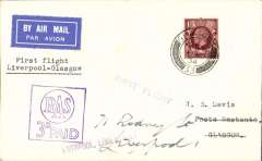 """(GB Internal) Railway Air Service, F/F new timetable which put Liverpool into direct aerial communication with Scotland, Liverpool-Glasgow, plain etiquette cover franked FDI KGV photogravure 1 /2d, postmarked Glasgow 1 Nov/1934 on arrival, special purple boxed """"RAS/3d PAID"""" and """"Liverpool, Lime Street"""" cachets."""