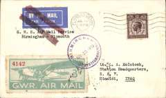 (Iraq) Rare Great Britain cover to Iraq carried via the Great Western Railway Birmingham to Plymouth service. Airmail etiquette cover franked GB 1 1/2d and cancelled on arrival with Plymouth Jul 15 cds and GWR 3d Air Stamp tied by violet circular 'Birmingham/Great Western Railway/Jul 15 1933' cds, also a reddish/black double bar Jusqu'a applied at Plymouth to indicate the end of its journey by air, and carriage thereafter by surface to its final destination. Addressed to RAF Hinaidi, Iraq with a Baghdad Cantonment 1 Aug 1933 back stamp. The F/F of the Birmingham-Plymouth stage was on 22/5/33. A fascinating GWR item.