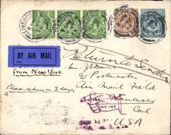 "(GB External) First acceptance of UK mail for carriage over the US transcontinental air mail route, Liverpool to San Francisco, bs May 22, 1925, plain cover correctly rated 1/4 1/2d for air mail service over three zones from New York, canc Liverpool cds, black/dark blue airmail etiquette with ""from New York"" in ms below, carried by S.S. Aquitania to New York, then internal air to San Francisco."
