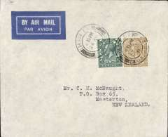 (GB External) Imperial Airways, London to Masterton, New Zealand, bs 19/5, carried on the Second Experimental Flight to Australia, imprint airmail etiquette cover correctly rated 1/4d, canc London FS/ 24 Apr 31/Airmail cds. No cachets were used on this flight with the exception of Singapore. Francis Field authentication hs verso.