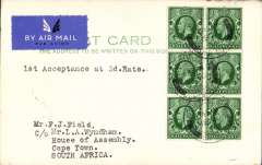 "(GB External) First acceptance of mail for South Africa from London at the new 3d Flat Rate, airmail etiquette PC addressed to L.A. Wyndham, House of Assembly, Cape Town, bs 30/11, franked 6x KGV 1/2d, postmarked day of issue, ms '1st Acceptance at 3d Rate'. Verso a message ""Greetings"" signed by Francis F. Field. Nice item with aerophilatelic connections.."