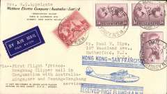 """(Australia) First acceptance of mail from Australia to USA, carried by Qantas to Singapore, then by Imperial  Airways to Hong Kong, 27/4 transit cds, and finally, by the INAUGURAL  Pan Am FAM14 service from Hong Kong to San Francisco, 4/5 arrival ds. Western Electric corner cover correctly franked 4/8d, canc Sydney 19 Apr 37 cds, official blue 'Hong Kong to San Francisco/FAM 14' first flight cachet, typed """"Via First Flight Frisco-/Hong Kong Clipper mail in/conjunction with Australia-/Singapore and Penang-Hong Kong/service"""". Small mail,  Very nice item."""