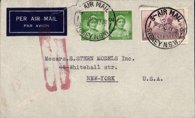 (Australia) WWII precursor, Sydney to New York, sent to USA via the Empire Route to London and and onward transmission across Atlantic by sea, imprint etiquette airmail cover franked 1/7d (overpaid by 1d), canc Air Mail/Sydney/39MY38, etiquette cancelled by red double bar Jusqu'a applied in London to terminate carriage by air. Flown all the way by Short C Class S.30 flying boats, to Singapore by Qantas, and on to London by Imperial Airways.  An interesting item, Australian airmail to USA of this period usually went by the Pan Am Trans Pacific route. Some rough opening at top, hardly detracts, see scan.