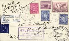 """(Australia) First acceptance of mail from Australia to USA, for carriage from New Zealand on the inaugural  Pan Am FAM19 service from Auckland 20 Jul 40 to San Francisco 24 Jul 1940 arrival ds. NOTE, this mail was sent  from Sydney to New Zealand on RMS 'Niagara'  on 31 August 1940 and delayed in NZ due to the outbreak of WWII. A registered (label) cover franked 3/9d, canc Sydney 30 Au 39, official violet framed """"New Zealand-USA"""" fight cachet, ms """"By Air/New Zealand/to USA by/Clipper"""". Small mail,  A very nice item."""