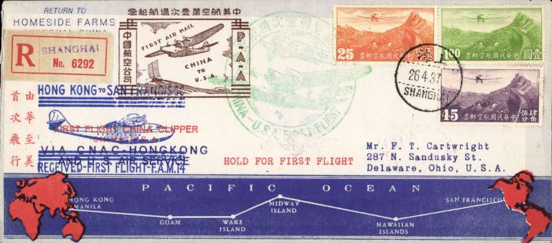 """(China) F/F FAM 14 China Clipper, China to San Francisco, bs 4/5, registered (label) printed souvenir cover with blue/red route map along bottom franked $1.70 canc Shanghai cds, fine official circular green """"China-USA First Flight"""",  violet """"Hong Kong to San Francisco/Via CNAC HongKong....."""", and brown """"First Air  Mail/China to USA"""" cachet s on front, also 'Received First Flght' hs and typed 'Hold For First Flight', Lovely item"""