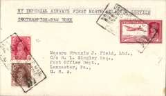 """(India) Rare India acceptance for the Imperial Airways first trans Atlantic flight (Northern route), Southampton to New York, bs 6/8, plain cover addressed to Francis J. Field,  franked 13 1/2 annas, canc black framed 'Use the Air Mail and Save Time/Karachi' dated cancellation, typed """"By Imperial Airways First North Atlantic Service/Southampton-New York"""". Only 5 flown. A super item in fine condition."""